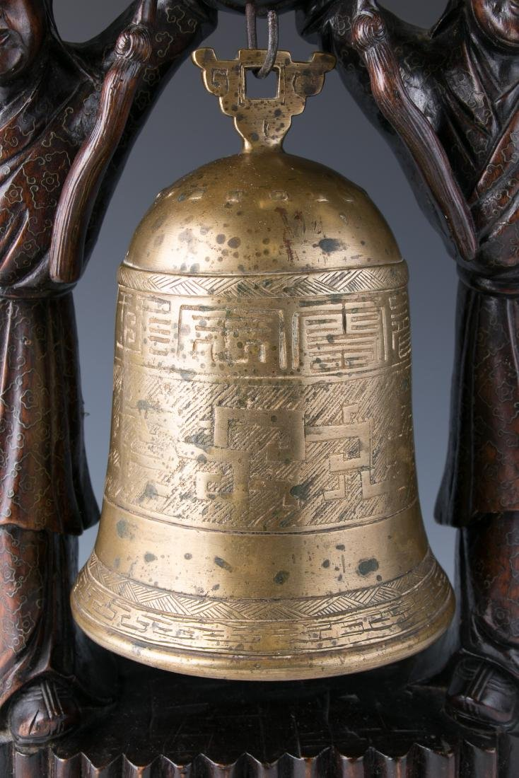 CHINESE BRONZE BELL WITH WOOD CARVED STAND, 19TH C. - 6