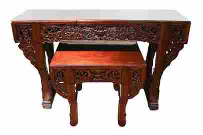 CHINESE SUANZHI ALTAR TABLE SET, 20TH C.