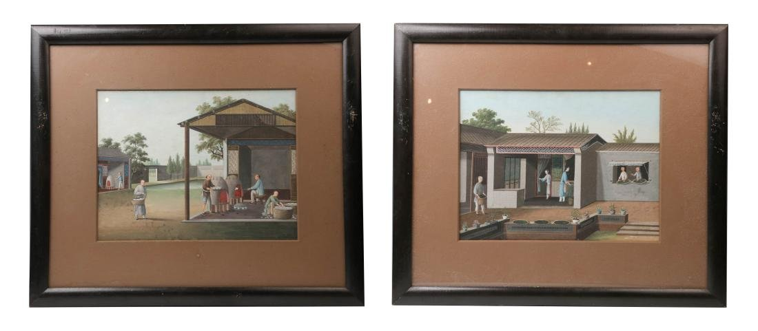 A PAIR OF CHINESE EXPORT GOUACHE PAINTINGS, 18TH&19TH C