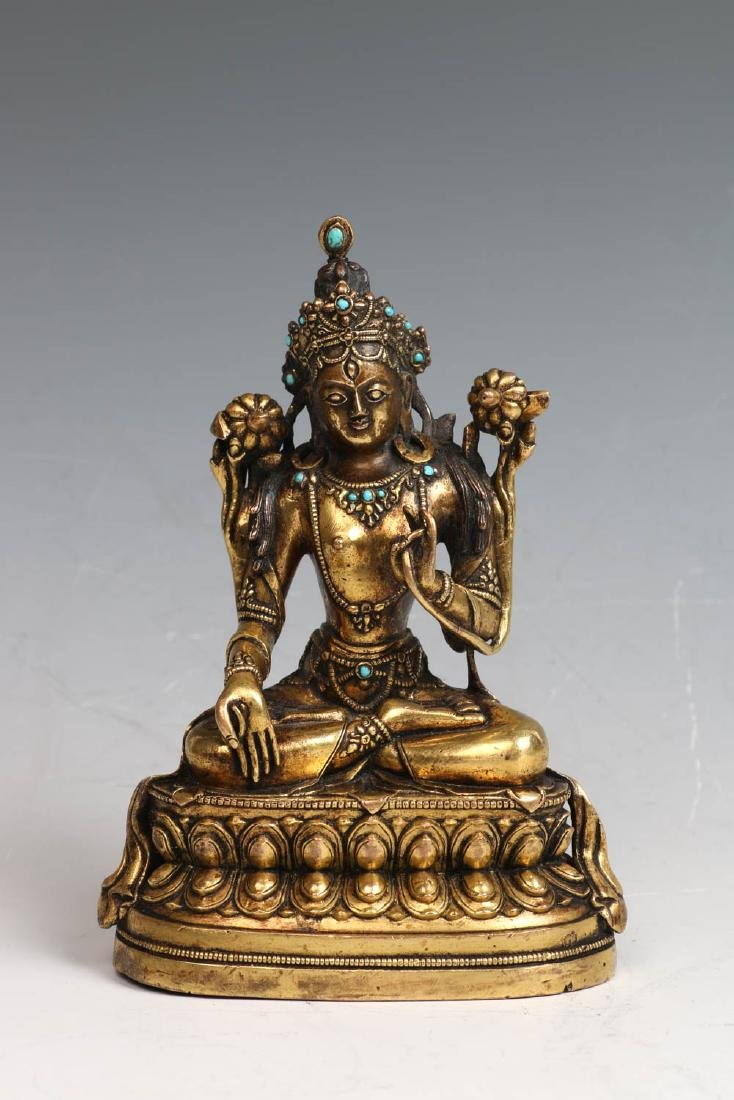 GILT BRONZE SEATED FIGURE OF TARA 18TH C.