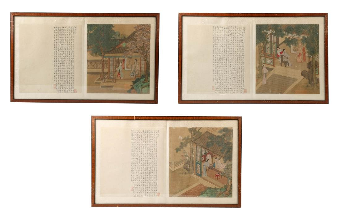 THREE PAINTINGS ON SILK, QING DYNASTY