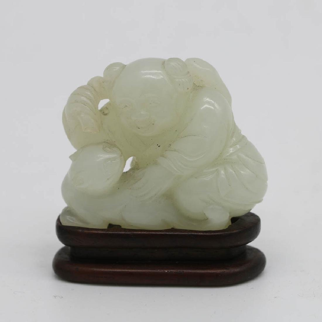 WHITE JADE BOY AND CAT GROUP, QIANLONG PERIOD