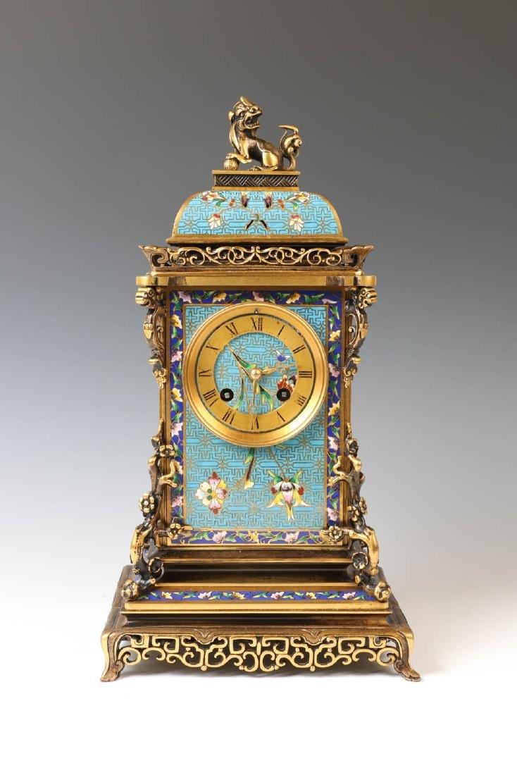 CLOISONNE ENAMEL MANTEL CLOCK