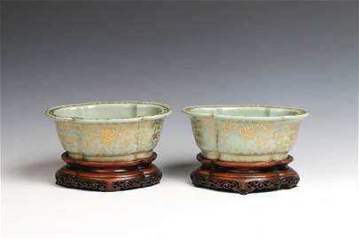 GILT DECORATED TURQUOISE GLAZE PLANTERS, DAOGUANG M &P