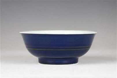 BLUE GLAZED BOWL, KANGXI MARK AND PERIOD