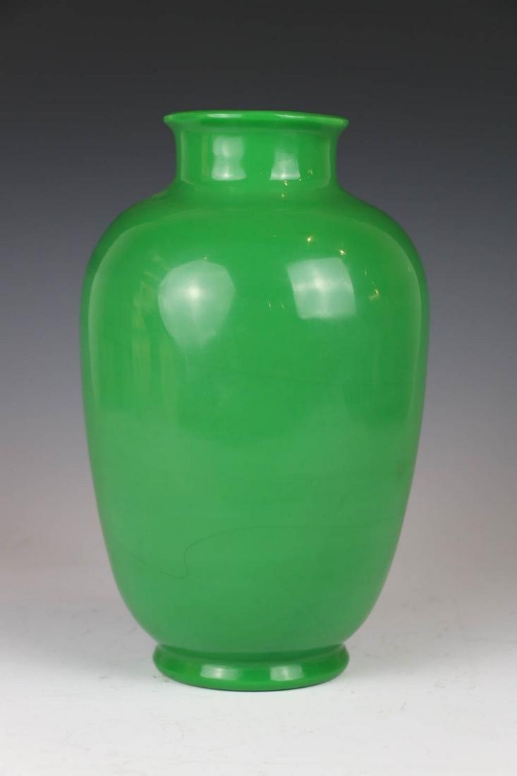 PEKING GLASS LIME GREEN BOTTLE VASE, 20TH C.