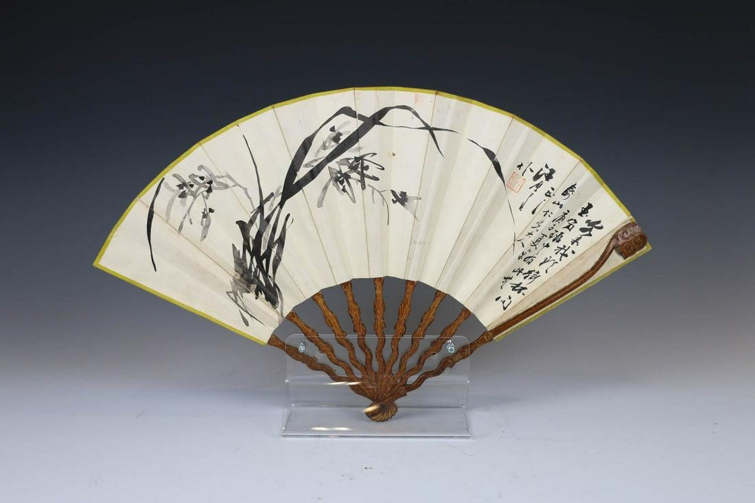WANG WENSHEN, CALLIGRAPHY  AND FLORAL FAN, 19TH C.