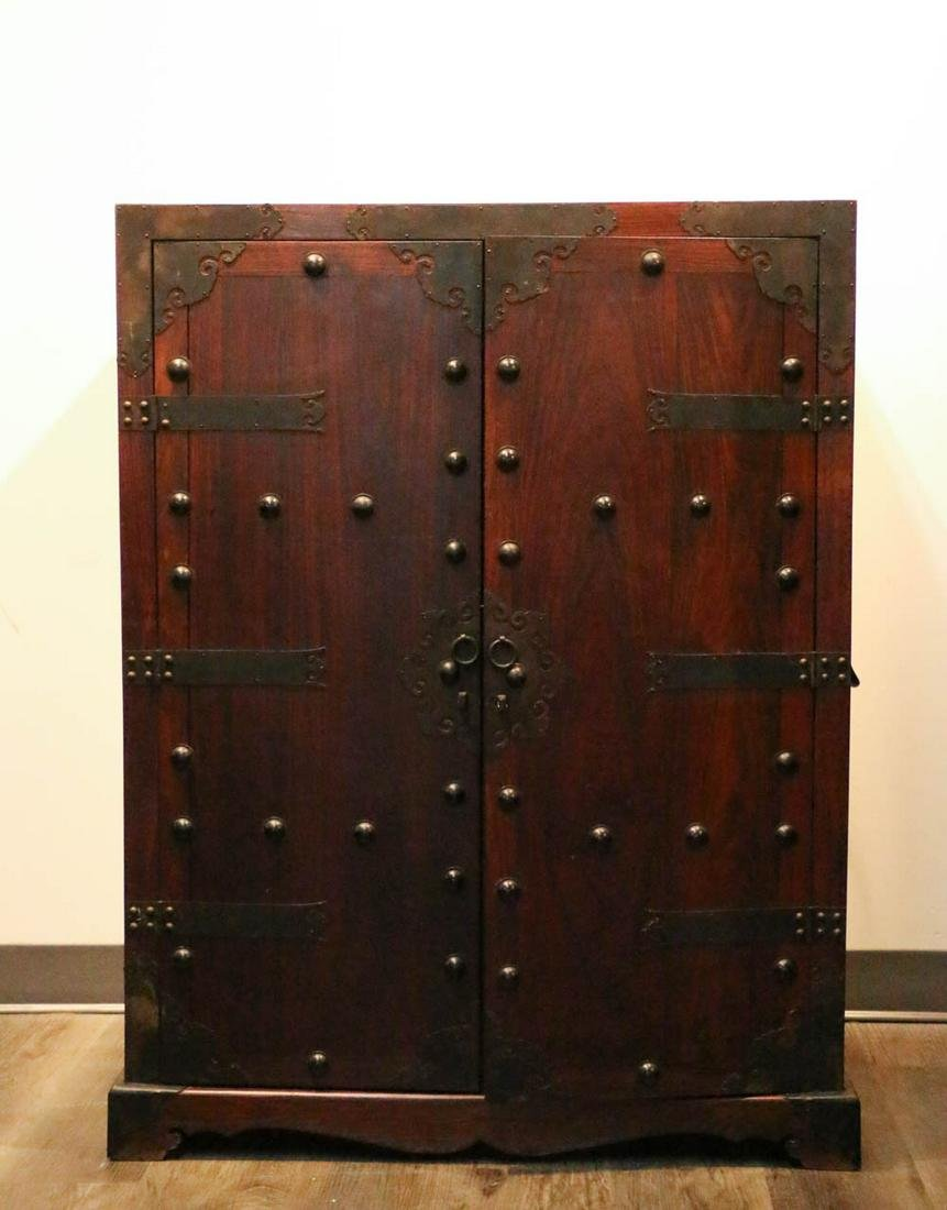 HARDWOOD LOW STORAGE CABINET EARLY 20TH C.