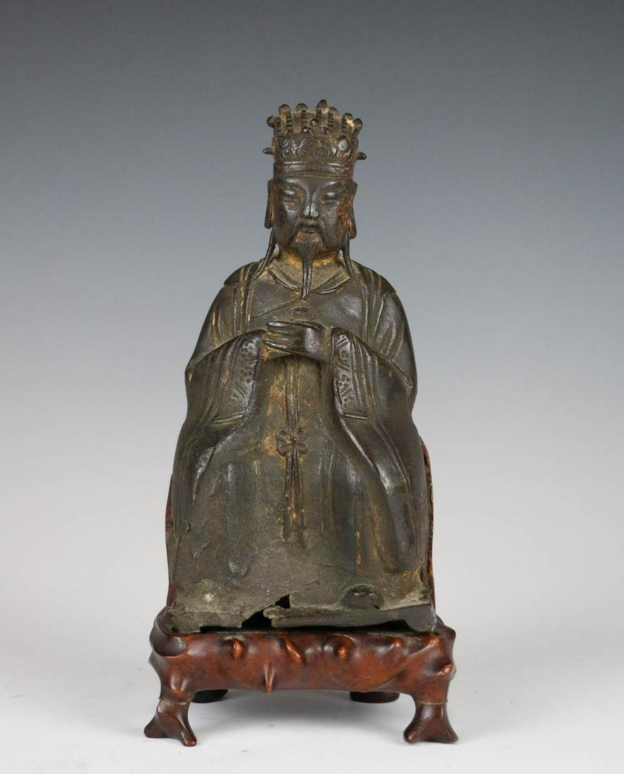 CHINESE BRONZE ANCIENT FIGURE W/STAND