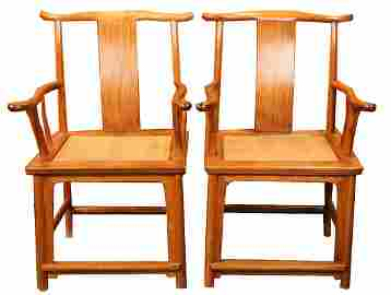 A PAIR OF HUANGHUALI YORKBACK ARMCHAIRS, 17TH C