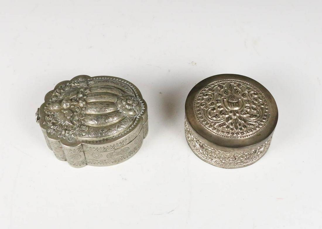 TWO SILVER COVER BOXES, 19TH C