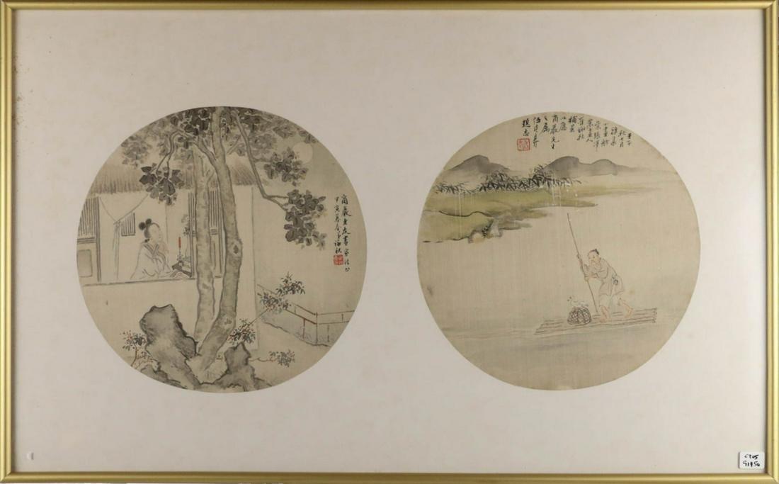 CUI YONGQIU WU DEYI(1864-1928) FAN PAGES, WITH FRA