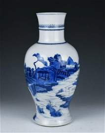 A BLUE AND WHITE GUANYIN VASE KANGXI PERIOD