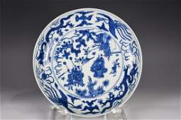 A BLUE AND WHITE LARGE DISH WANLI MARK&PERIOD