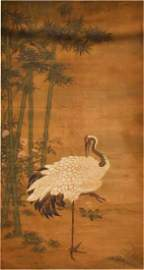 After Wang Yuan(1271-1368) Bamboo and Crane
