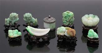 A Group of Nine Jadeite Ornaments and Box, 19th C