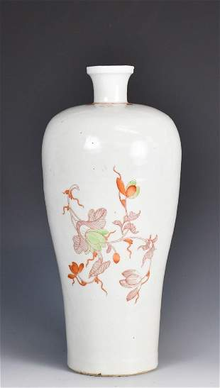 A Chinese Wucai Mei Vase, Late Ming Dynasty