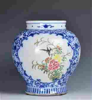 A Blue and White Jar, Kangxi Mark