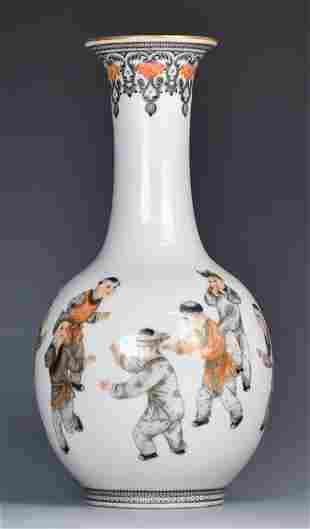 A Chinese Famille Rose Gilt Vase, Republic Period
