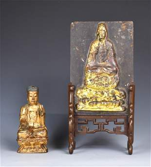 A Parcel Gilt Wood Figure and A Table Screen