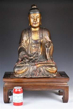 A Gilt Wood Carved Buddha, Ming
