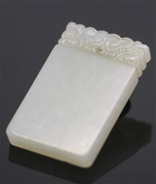 A Chinese Carved White Jade Pendant, Qing
