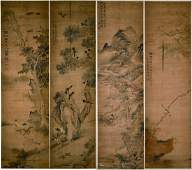 Four Chinese Painting Hanging Scrolls