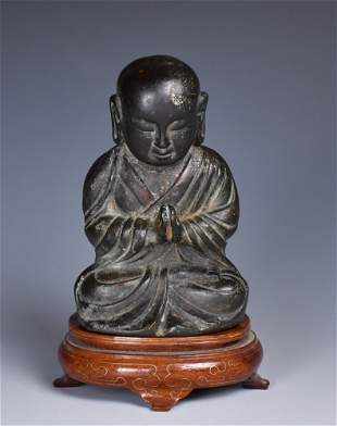 A Bronze Figure of Young Monk Early Qing
