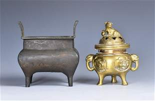 A Group of Two Bronze Censers, Late Qing