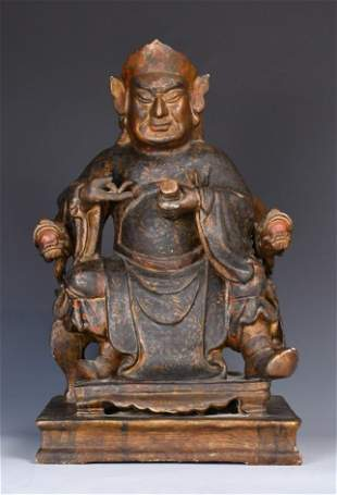 A Gilt and Lacquered Wood Figure of Wenchang