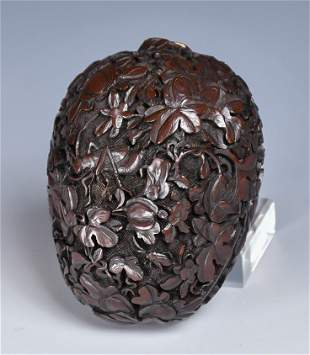 A Fruit Shaped Carved Lacquer Box, 19thC
