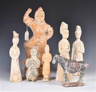 Seven Pottery Figures