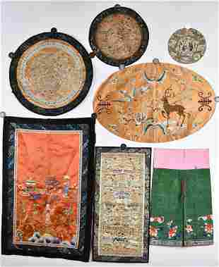 Seven Pieces of Silk Embroideries
