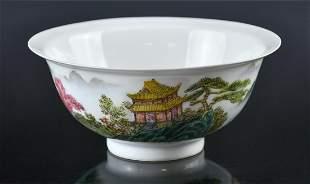 A Famille Rose Landscape Bowl Qianlong Mark 1960-70's