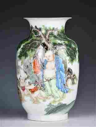 A Famille Rose Luohan Winter Melon Shape Vase Jure