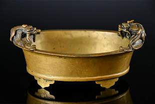 A Double Dragons Bronze Censer Xuande Mark