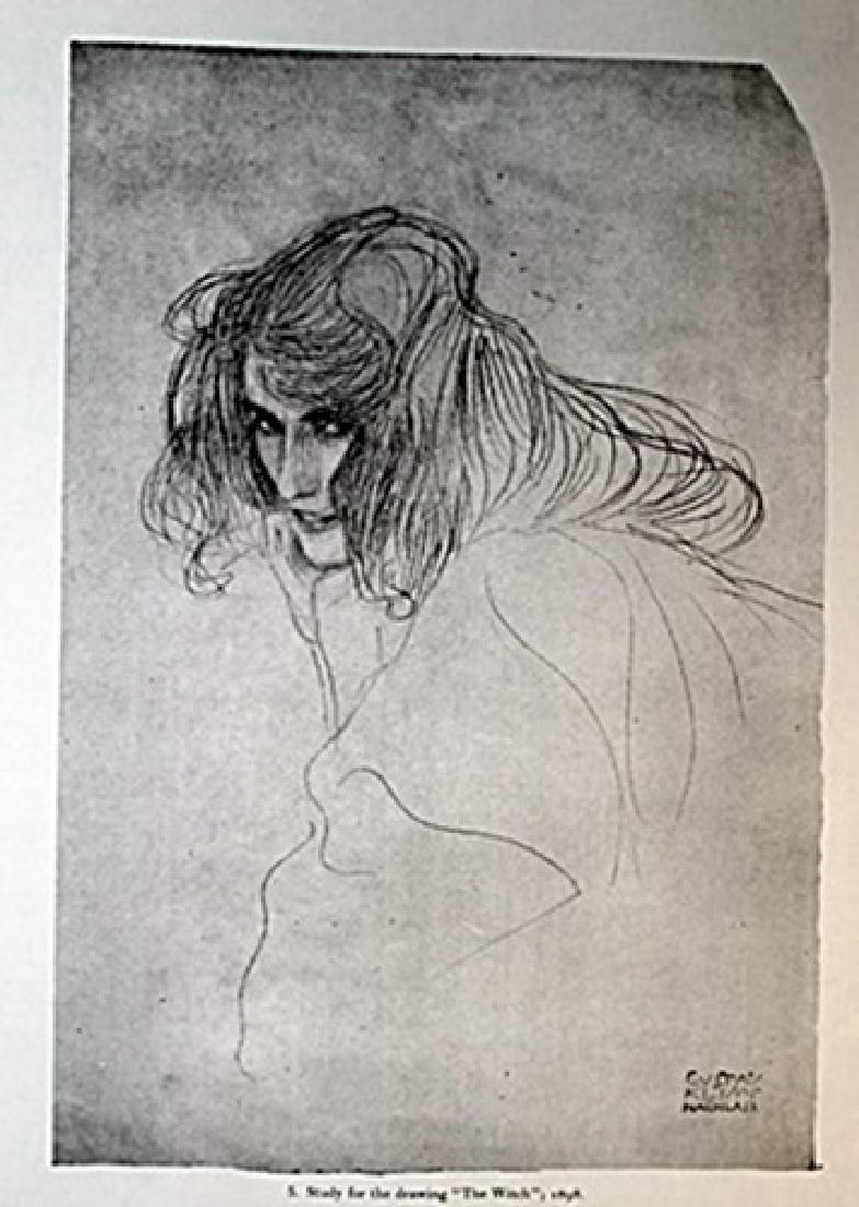 Gustav Klimt Lithograph Drawing