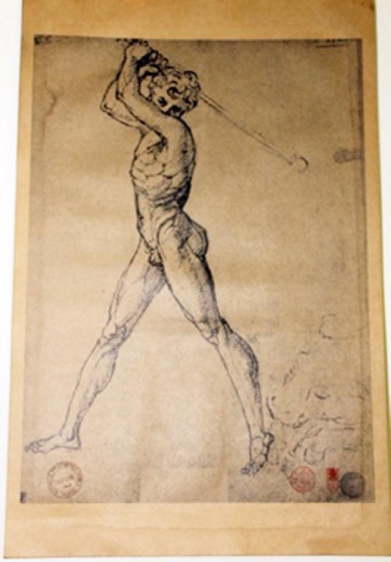 """Hercules Strikes a Bull"" Museum Lithograph"