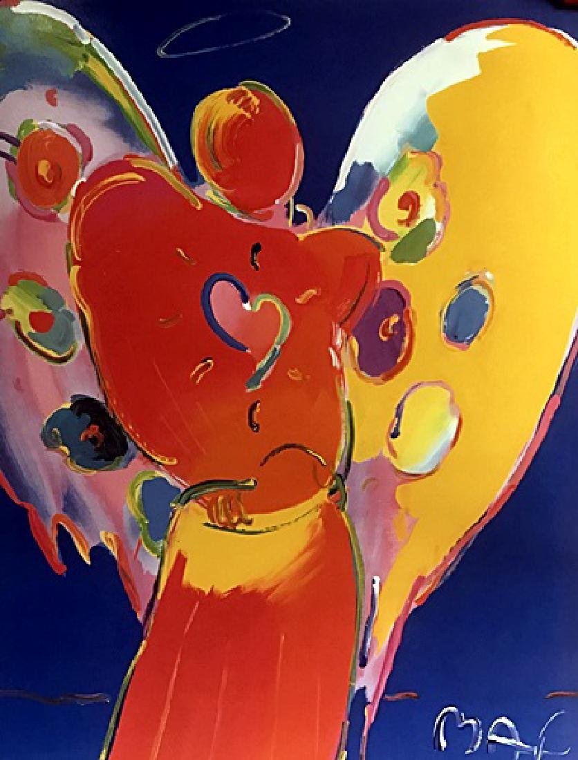 Peter Max Signed Lithograph - Angel with Heart