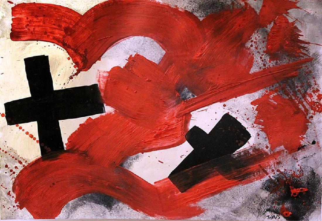 Antoni Tapies - Oil On Paper