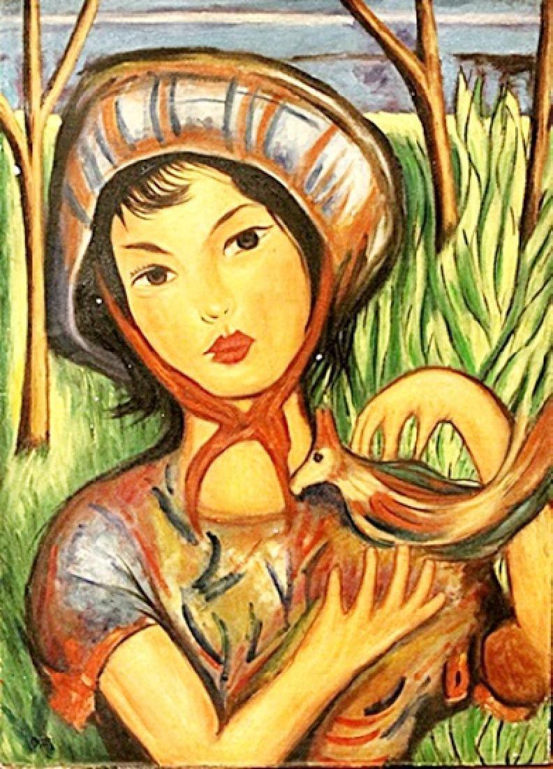 Jose Maria Mijares - Woman With A Bird - Oil On Canvas