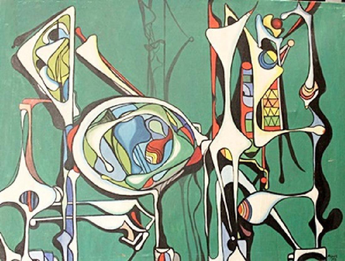 Jose Maria Mijares - Composition V - Oil On Canvas