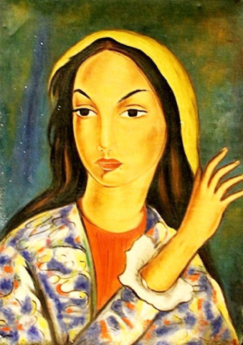 Jose Maria Mijares - Portrait Of A Woman - Oil On