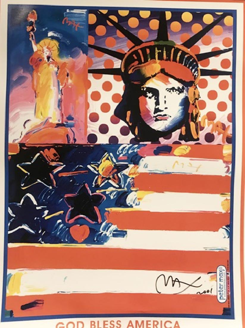 Peter Max Signed Lithograph - God Bless America