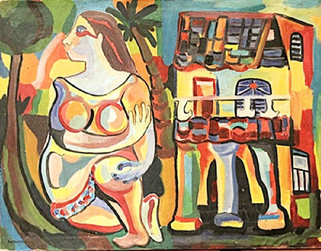 Rene Portocarrero - Woman With House - Oil On Canvas