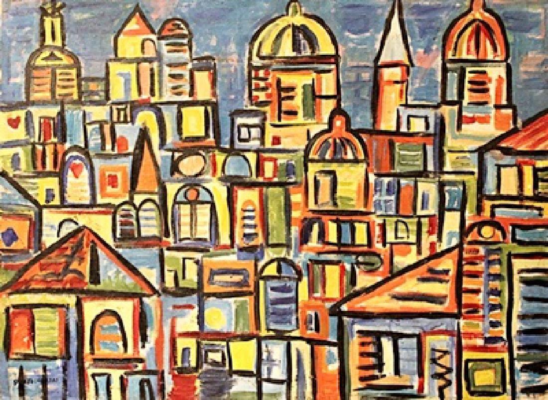 Rene Portocarrero - The City - Oil On Canvas