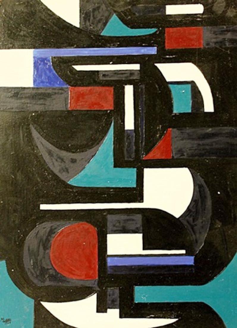 Jose Maria Mijares - Composition III - Oil On Masonite