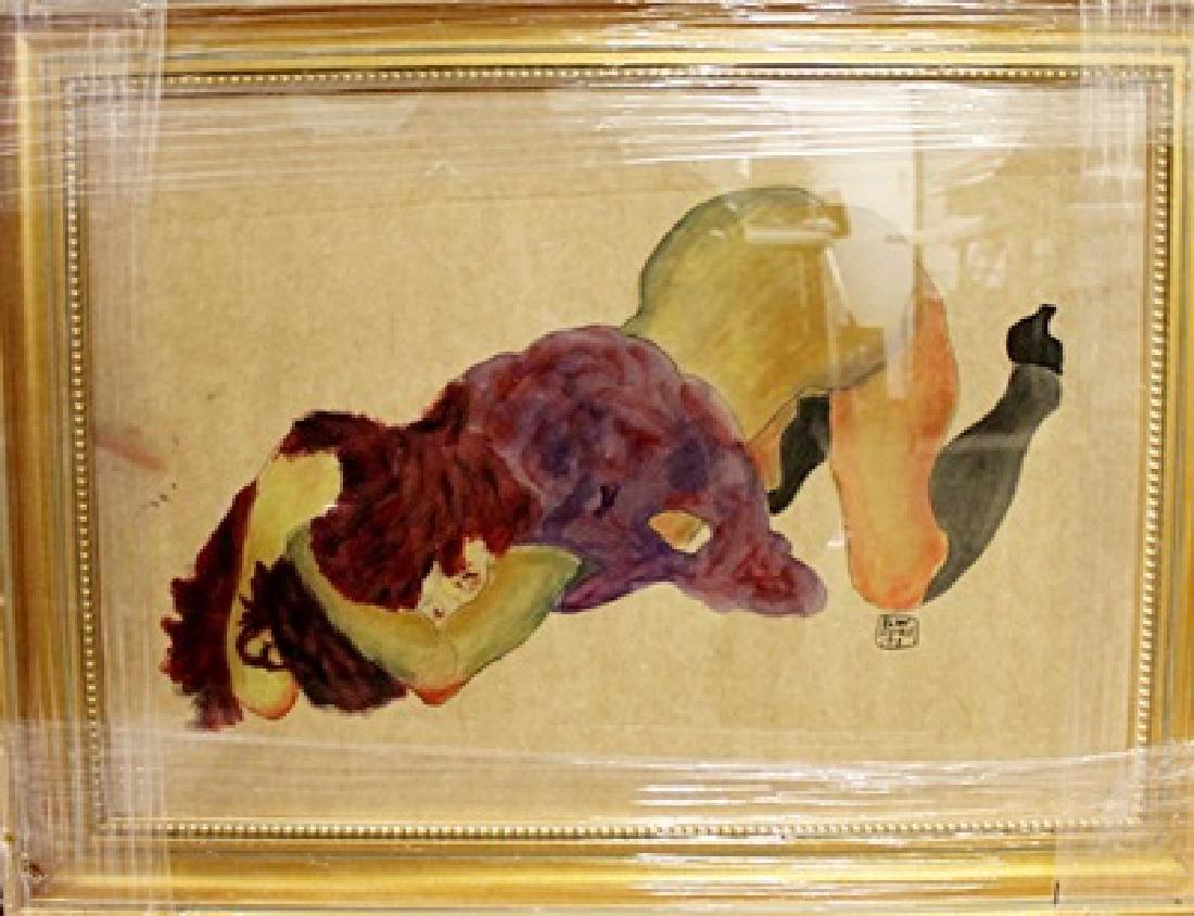 Egon Schiele - Nude Girl - Gouache On Paper