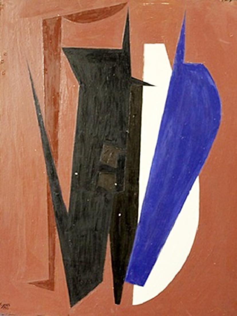 Jose Maria Mijares - Composition XI - Oil On Masonite