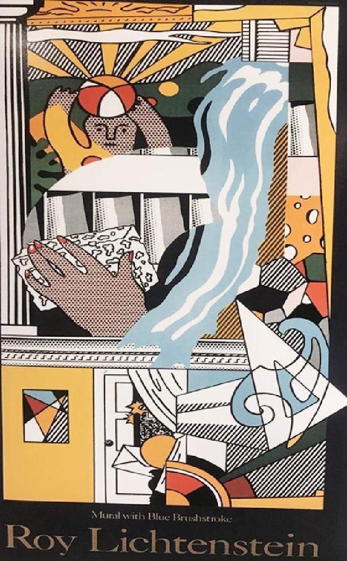Roy Lichtenstein Lithograph - Mural with Blue